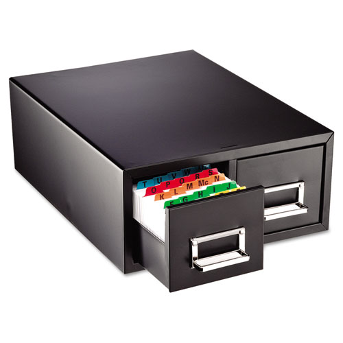 Drawer Card Cabinet, Holds 3,000 4 x 6 Cards, 14.88 x 16 x 6.5, Steel, Black. Picture 1