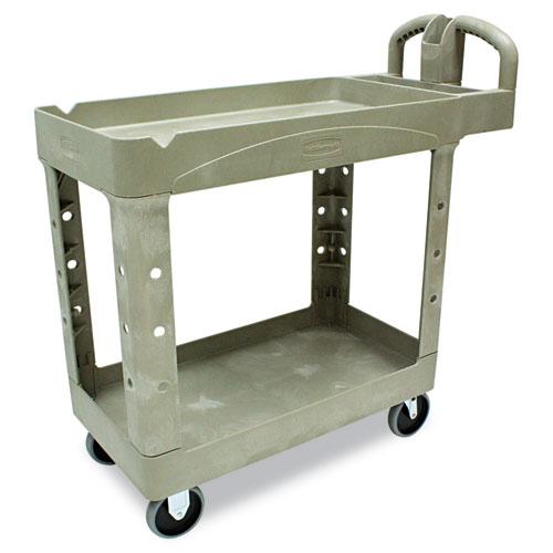 Heavy-Duty Utility Cart, Two-Shelf, 17.13w x 38.5d x 38.88h, Beige. Picture 1