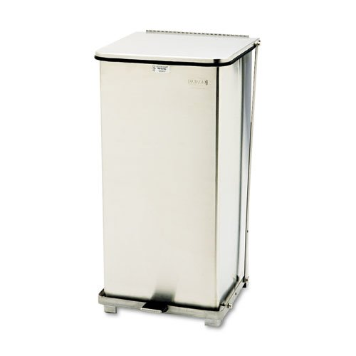 Defenders Biohazard Step Can, Square, Steel, 13 gal, Stainless Steel. Picture 1