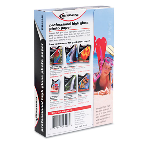 High-Gloss Photo Paper, 10 mil, 4 x 6, High-Gloss White, 100/Pack. Picture 3
