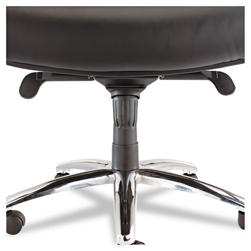 Alera Ravino Big and Tall Series High-Back Swivel/Tilt Bonded Leather Chair, Supports 450 lbs, Black Seat/Back, Chrome Base. Picture 2