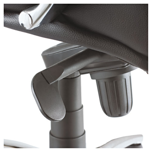 Alera Ravino Big and Tall Series High-Back Swivel/Tilt Bonded Leather Chair, Supports 450 lbs, Black Seat/Back, Chrome Base. Picture 4