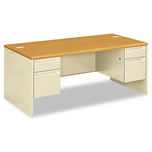 38000 Series Double Pedestal Desk, 72w x 36d x 29.5h, Harvest/Putty. Picture 1