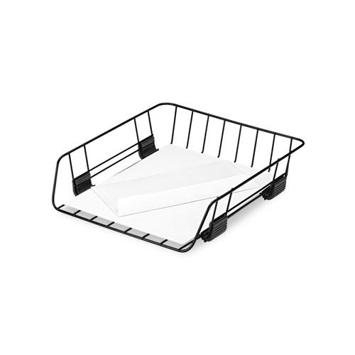 """Front-Load Wire Desk Tray, 1 Section, Letter Size Files, 10.88"""" x 12.63"""" x 2.63"""", Black. Picture 3"""