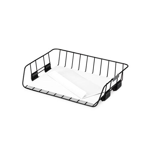 """Side-Load Wire Stacking Letter Tray, 1 Section, Letter Size Files, 13.38"""" x 10.13"""" x 2.63"""", Black. Picture 3"""