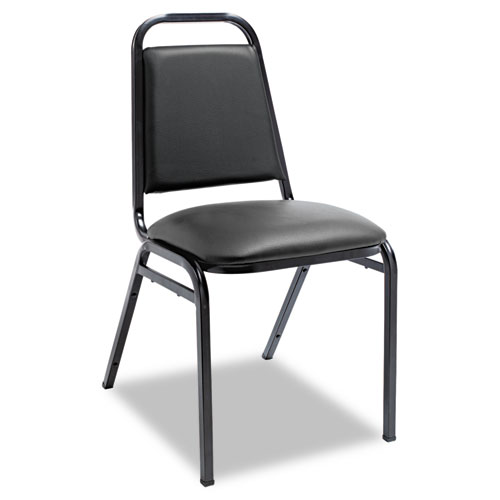 Padded Steel Stacking Chair, Black Seat/Black Back, Black Base, 4/Carton. Picture 1