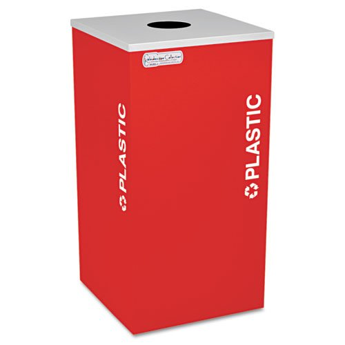 Kaleidoscope Collection Plastic-Recycling Receptacle, 24gal, Ruby Red. Picture 1