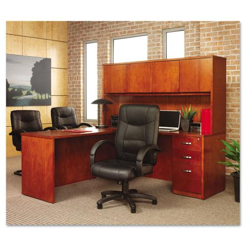 Alera Strada Series High-Back Swivel/Tilt Top-Grain Leather Chair, Supports up to 275 lbs, Black Seat/Black Back, Black Base. Picture 5
