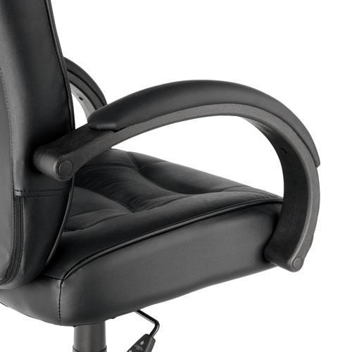 Alera Strada Series High-Back Swivel/Tilt Top-Grain Leather Chair, Supports up to 275 lbs, Black Seat/Black Back, Black Base. Picture 3