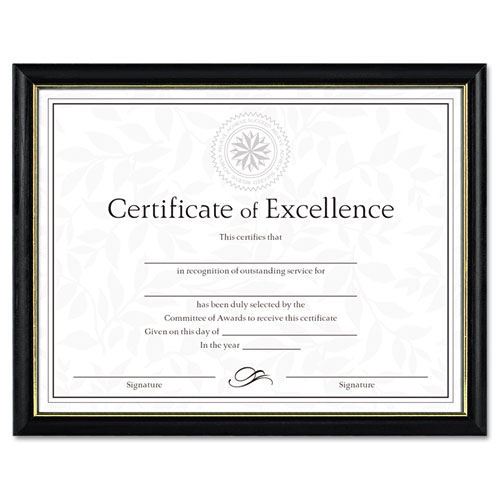 Two-Tone Document/Diploma Frame, Wood, 8 1/2 x 11, Black w/Gold Leaf Trim. Picture 1
