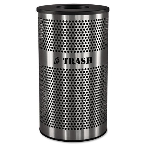 Stainless Steel Trash Receptacle, 33 gal, Stainless Steel. Picture 1