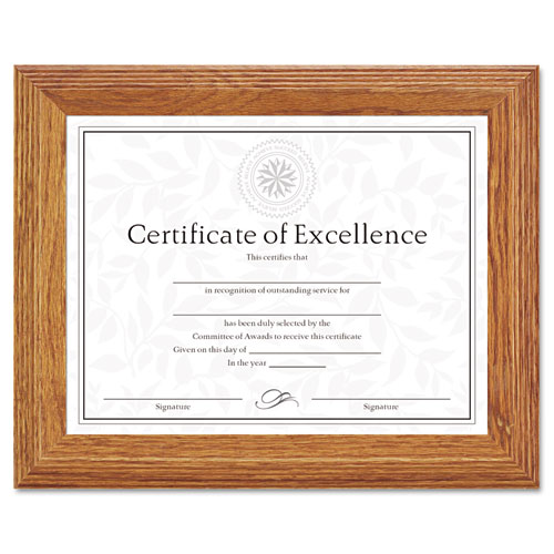 Document/Certificate Frame, Wood, 8-1/2 x 11, Stepped Oak. Picture 1