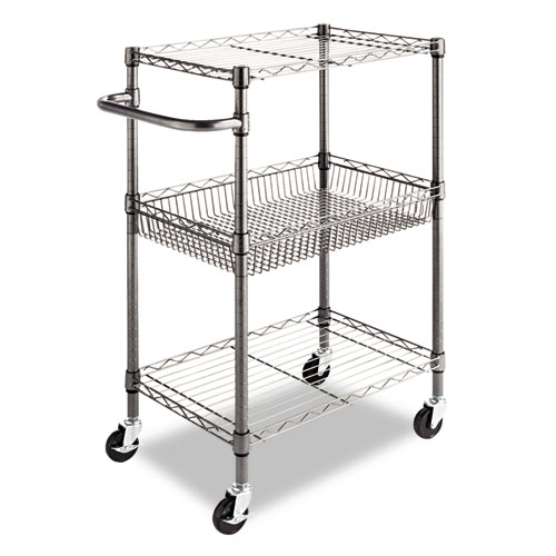 Three-Tier Wire Cart with Basket, 28w x 16d x 39h, Black Anthracite. Picture 1