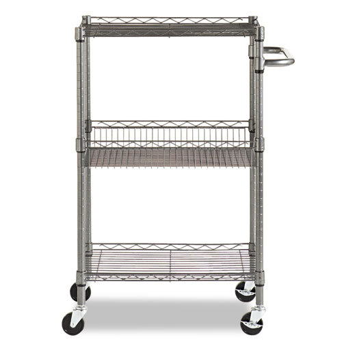 Three-Tier Wire Cart with Basket, 28w x 16d x 39h, Black Anthracite. Picture 2