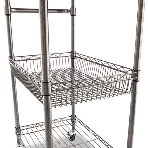 Three-Tier Wire Cart with Basket, 28w x 16d x 39h, Black Anthracite. Picture 3