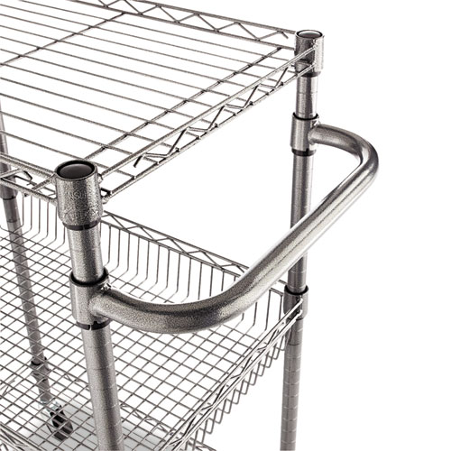 Three-Tier Wire Cart with Basket, 28w x 16d x 39h, Black Anthracite. Picture 4