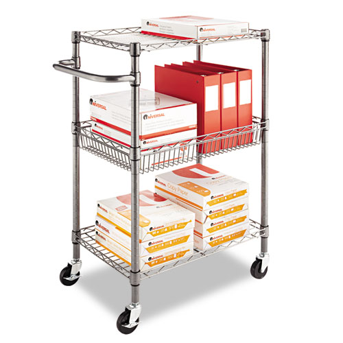 Three-Tier Wire Cart with Basket, 28w x 16d x 39h, Black Anthracite. Picture 5