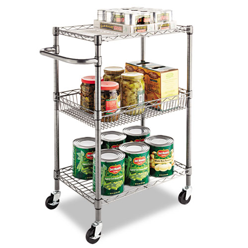 Three-Tier Wire Cart with Basket, 28w x 16d x 39h, Black Anthracite. Picture 6