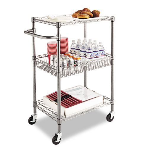 Three-Tier Wire Cart with Basket, 28w x 16d x 39h, Black Anthracite. Picture 7