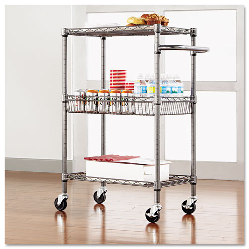 Three-Tier Wire Cart with Basket, 28w x 16d x 39h, Black Anthracite. Picture 8