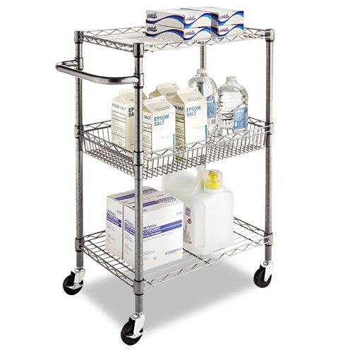 Three-Tier Wire Cart with Basket, 28w x 16d x 39h, Black Anthracite. Picture 9