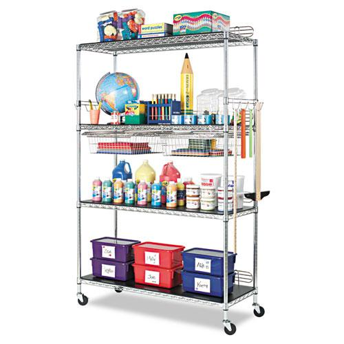 NSF Certified Industrial 4-Shelf Wire Shelving Kit, 36w x 24d x 72h, Silver. Picture 4