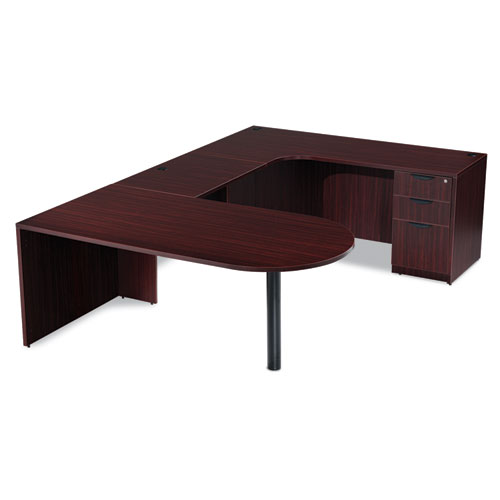 "Alera Valencia Series D-Top Desk, 71"" x 35.5"" x 29.63"", Mahogany. Picture 5"