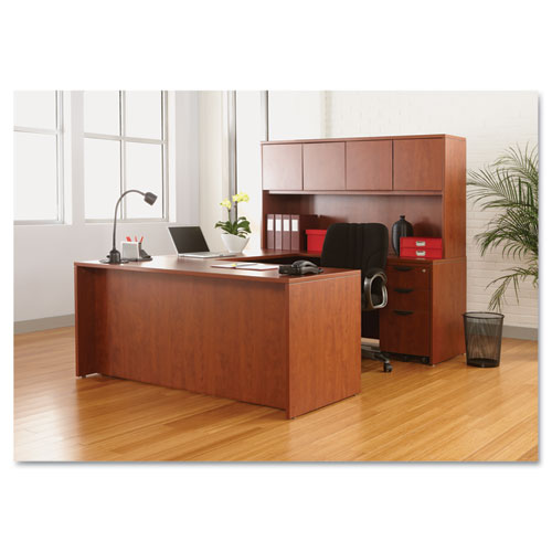 "Alera Valencia Series Straight Front Desk Shell, 65"" x 29.5"" x 29.63"", Medium Cherry. Picture 11"