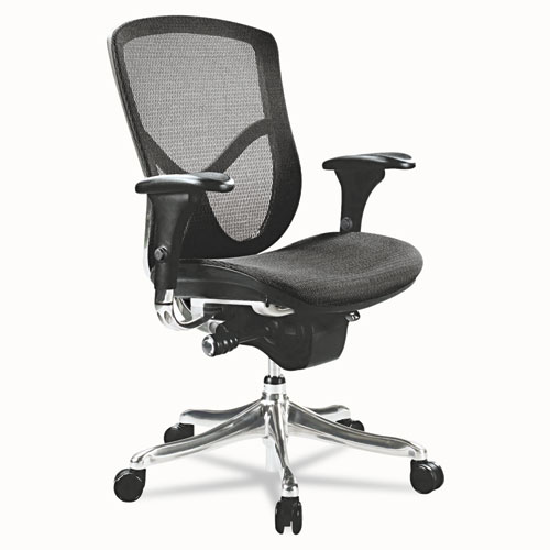 Alera EQ Series Ergonomic Multifunction Mid-Back Mesh Chair, Supports up to 250 lbs., Black Seat/Black Back, Aluminum Base. Picture 1