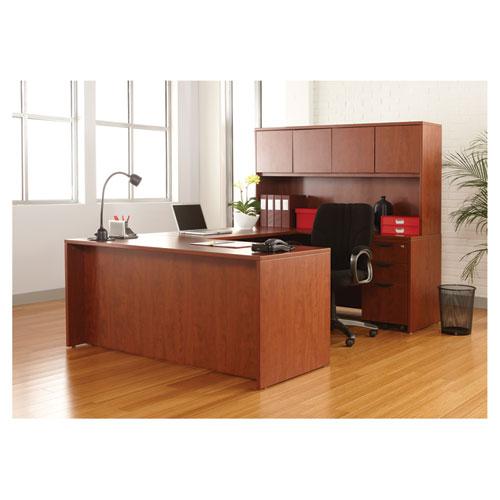 "Alera Valencia Series Straight Front Desk Shell, 65"" x 29.5"" x 29.63"", Medium Cherry. Picture 12"