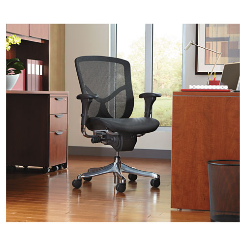 Alera EQ Series Ergonomic Multifunction Mid-Back Mesh Chair, Supports up to 250 lbs., Black Seat/Black Back, Aluminum Base. Picture 9