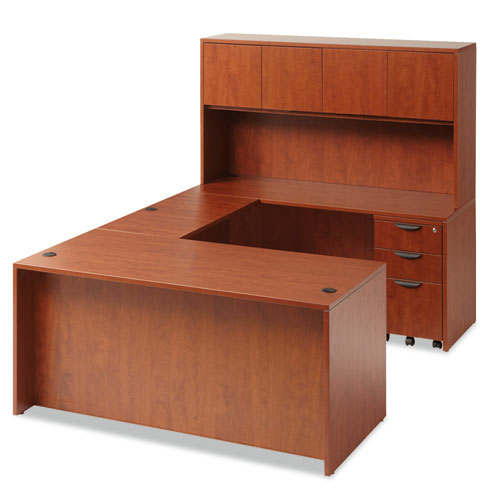 "Alera Valencia Series Straight Front Desk Shell, 65"" x 29.5"" x 29.63"", Medium Cherry. Picture 7"