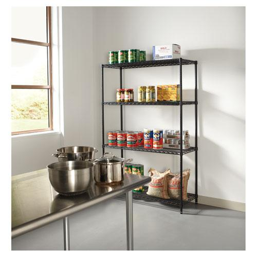 NSF Certified Industrial 4-Shelf Wire Shelving Kit, 48w x 18d x 72h, Black. Picture 5