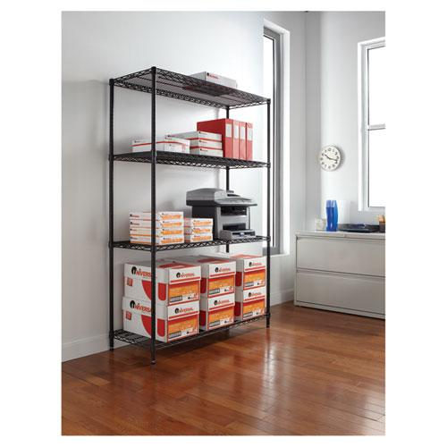 NSF Certified Industrial 4-Shelf Wire Shelving Kit, 48w x 18d x 72h, Black. Picture 4