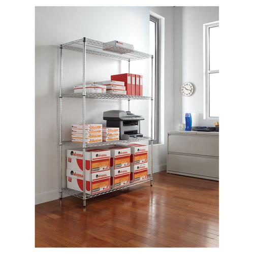 NSF Certified Industrial 4-Shelf Wire Shelving Kit, 48w x 18d x 72h, Silver. Picture 5