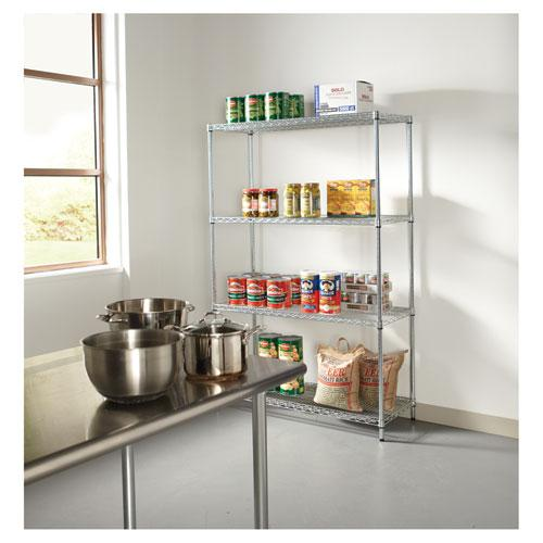 NSF Certified Industrial 4-Shelf Wire Shelving Kit, 48w x 18d x 72h, Silver. Picture 6