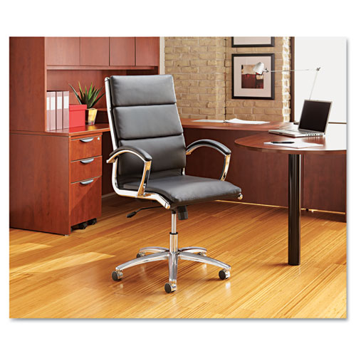 Alera Neratoli High-Back Slim Profile Chair, Supports up to 275 lbs, Black Seat/Black Back, Chrome Base. Picture 9