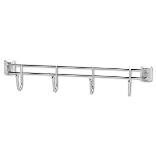 "Hook Bars For Wire Shelving, Four Hooks, 18"" Deep, Silver, 2 Bars/Pack. Picture 2"