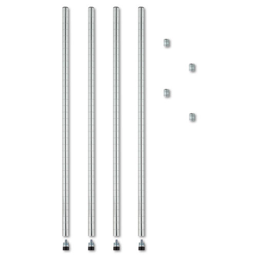 "Stackable Posts For Wire Shelving, 36"" High, Silver, 4/Pack. Picture 1"