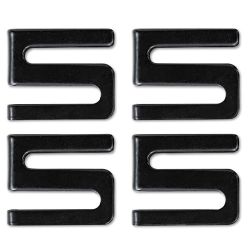 Wire Shelving S Hooks, Metal, Black, 4 Hooks/Pack. Picture 1