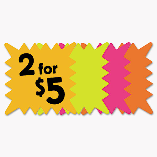 Die Cut Paper Signs, 5 1/4 x 5 1/4, Square, Assorted Colors, Pack of 48 Each. Picture 1