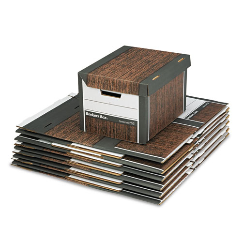 SYSTEMATIC Medium-Duty Strength Storage Boxes, Letter/Legal Files, Woodgrain, 12/Carton. Picture 2