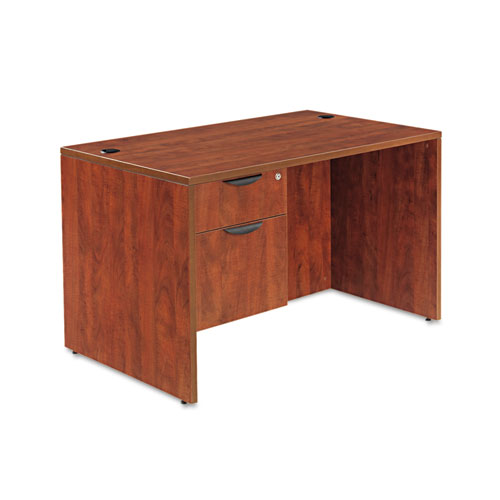 "Alera Valencia Series Straight Front Desk Shell, 47.25"" x 29.5"" x 29.63"", Medium Cherry. Picture 3"