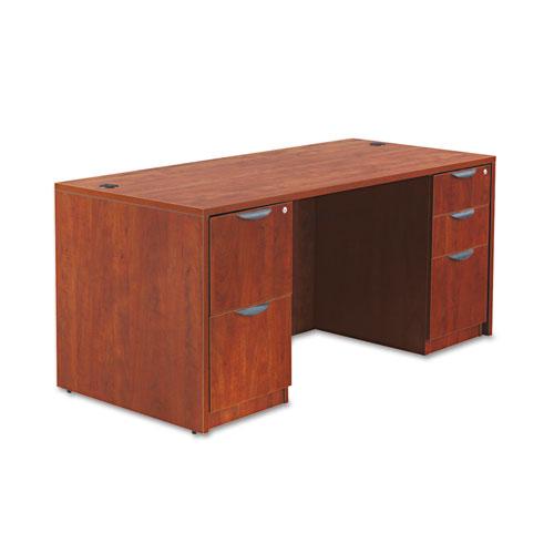 "Alera Valencia Series Straight Front Desk Shell, 65"" x 29.5"" x 29.63"", Medium Cherry. Picture 5"