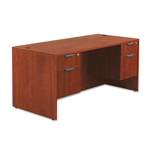 "Alera Valencia Series Straight Front Desk Shell, 65"" x 29.5"" x 29.63"", Medium Cherry. Picture 2"