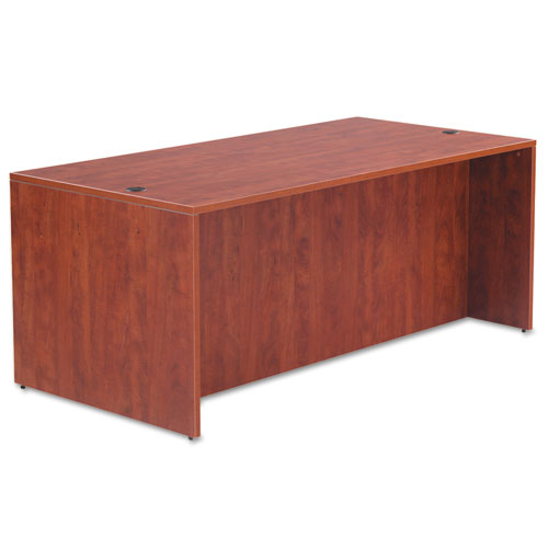 "Alera Valencia Series Straight Front Desk Shell, 71"" x 35.5"" x 29.63"", Medium Cherry. Picture 2"