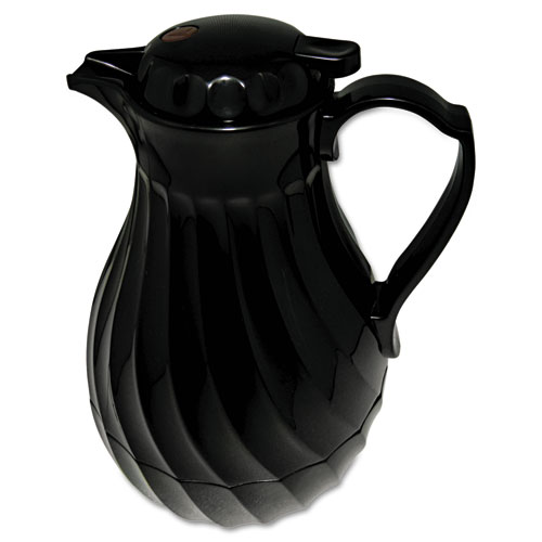 Poly Lined Carafe, Swirl Design, 40oz Capacity, Black. Picture 1