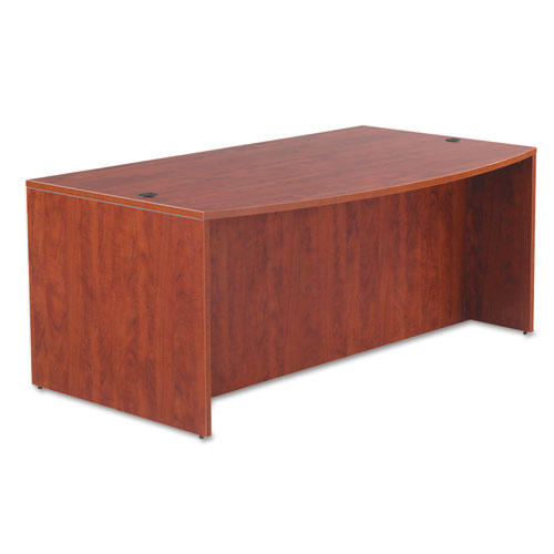 "Alera Valencia Series Bow Front Desk Shell, 71"" x 41.38"" x 29.63"", Medium Cherry. Picture 2"