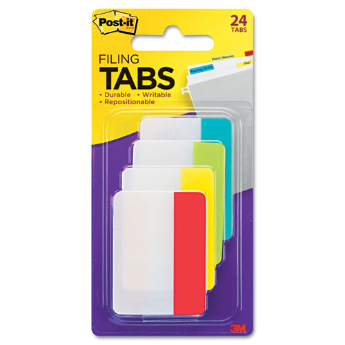 "2"" and 3"" Tabs, 1/5-Cut Tabs, Assorted Colors, 2"" Wide, 24/Pack. Picture 2"
