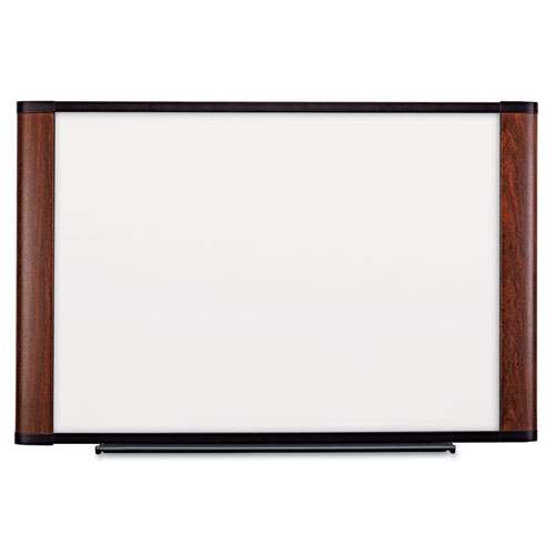 Melamine Dry Erase Board, 72 x 48, Mahogany Frame. Picture 1